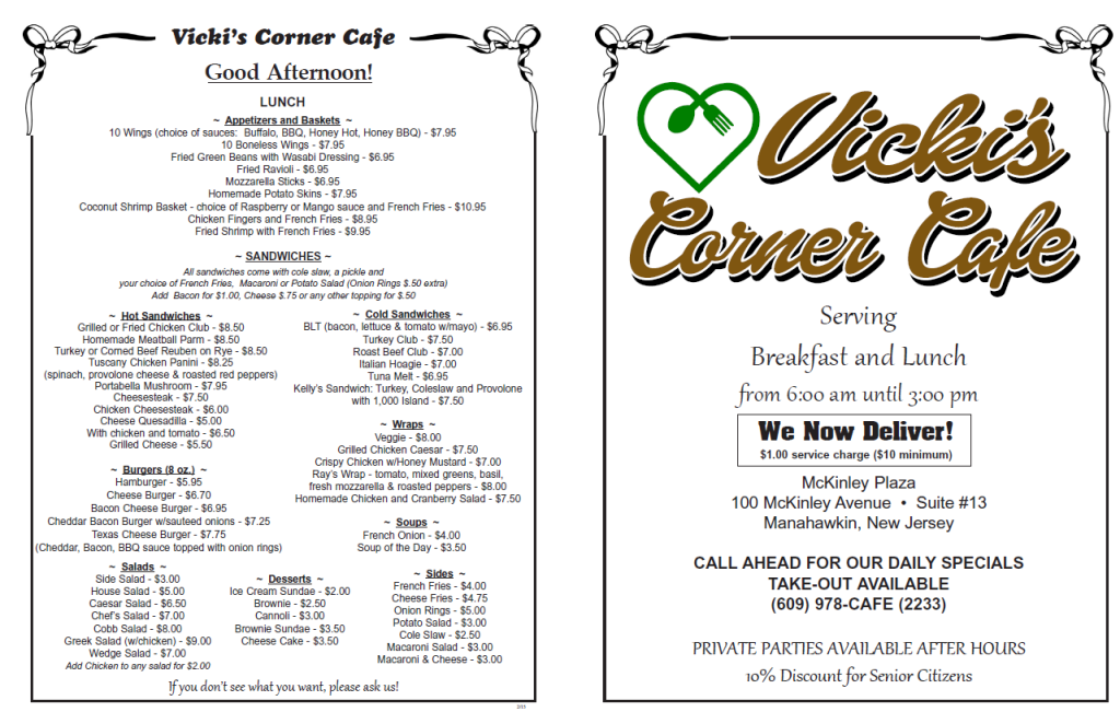Vickie s corner cafe in manahawkin manahawkin stores for Asian cuisine ocean view nj
